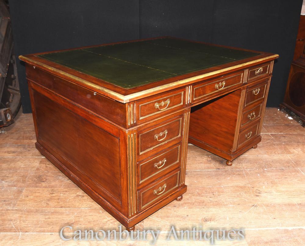 Antique Französisch Napoleon III Partner Schreibtisch Mahagoni Schreiben Tabelle