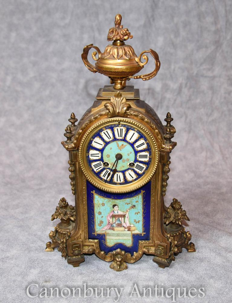 Antique French Mantle Clock Japanische Dekoration Sevres Porzellan Zeit