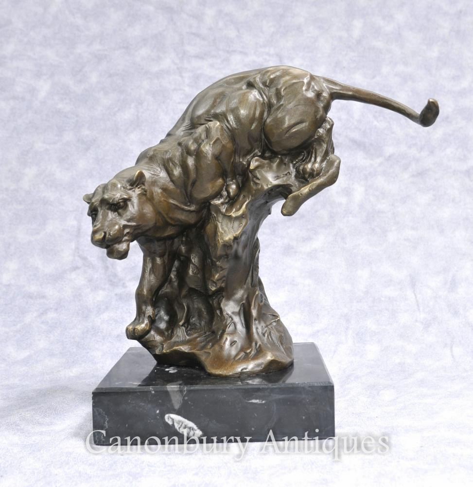 Bronze Casting Panther Katze Leopard signiert Milo Statue Casting