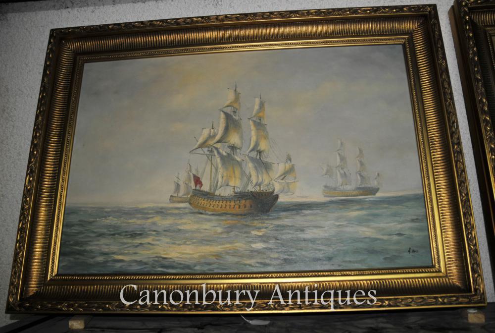 Englisch Viktorianisches Ölgemälde Seascape Galleon Schiff Signiert