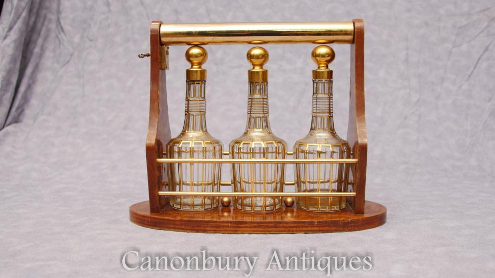 Französische Antike Tantalus Likör Dekanter Glas Gold Blatt Baccarat