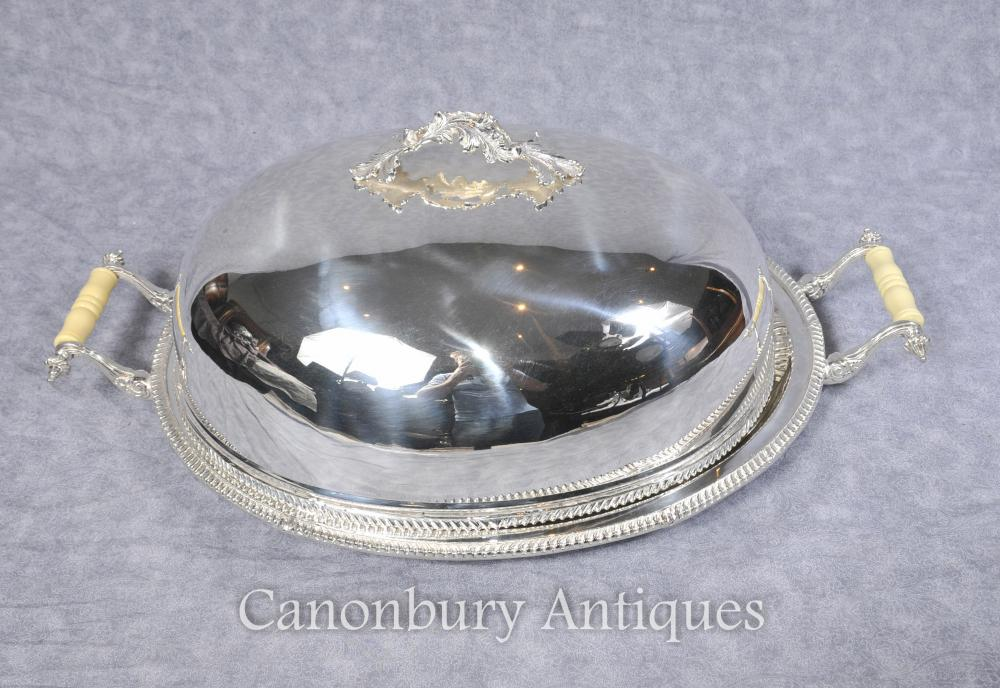 Georgian Silver Plate Lidded Serving Platter Domed Deckel Tablett