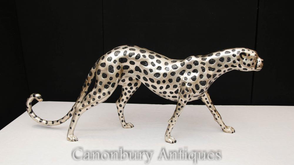 Große Silberplatte Cheetah Statue Art Deco Bronze Katzen