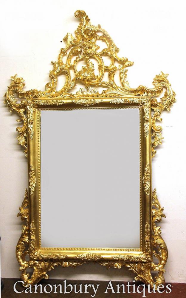 Große italienische Gilt Pier Spiegel Hand geschnitzte Glas Spiegel