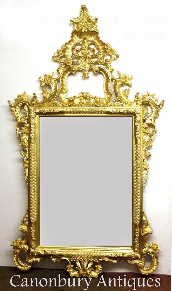 Großer George II Gilt Pier Spiegel Geschnitzter Rahmen Glas Spiegel
