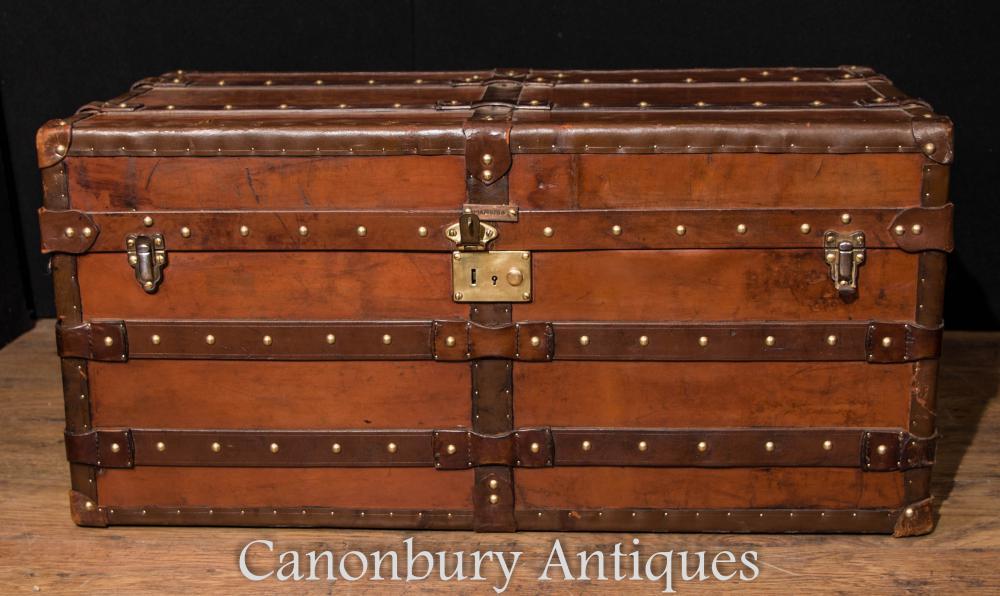 Großer antiker englischer lederner Stamm-Gepäck-Kasten-Dampfer-Stammtisch Cheney