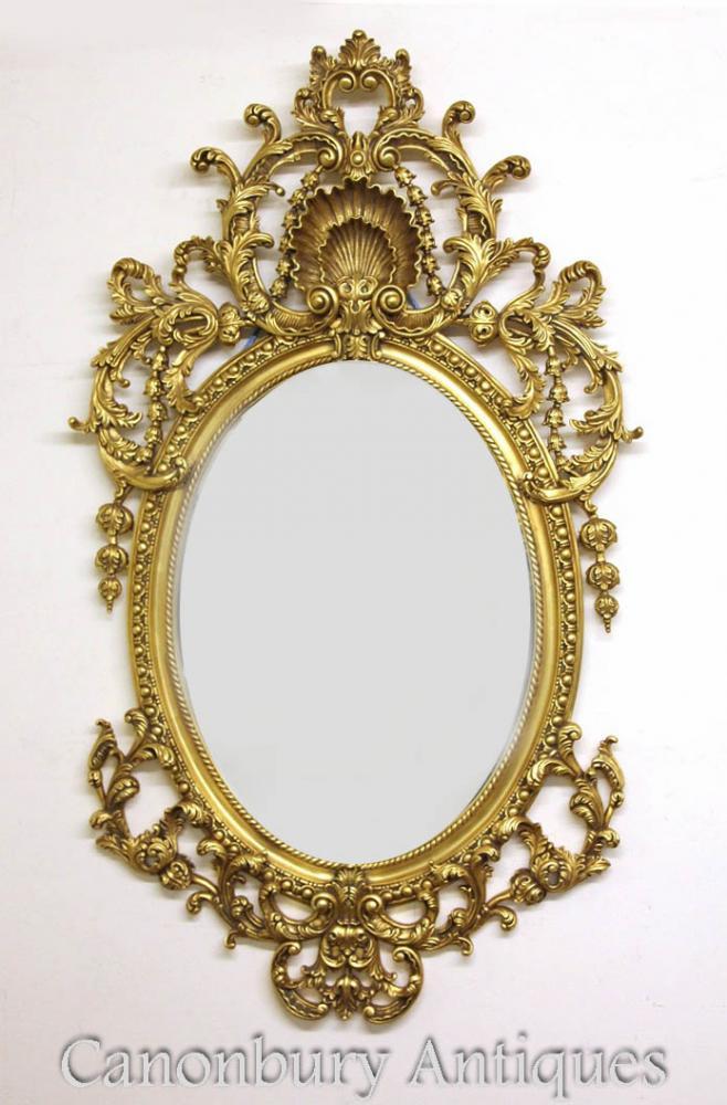 Großer französischer Louis XVI Rococo Ovaler Spiegel Gilt Rahmen