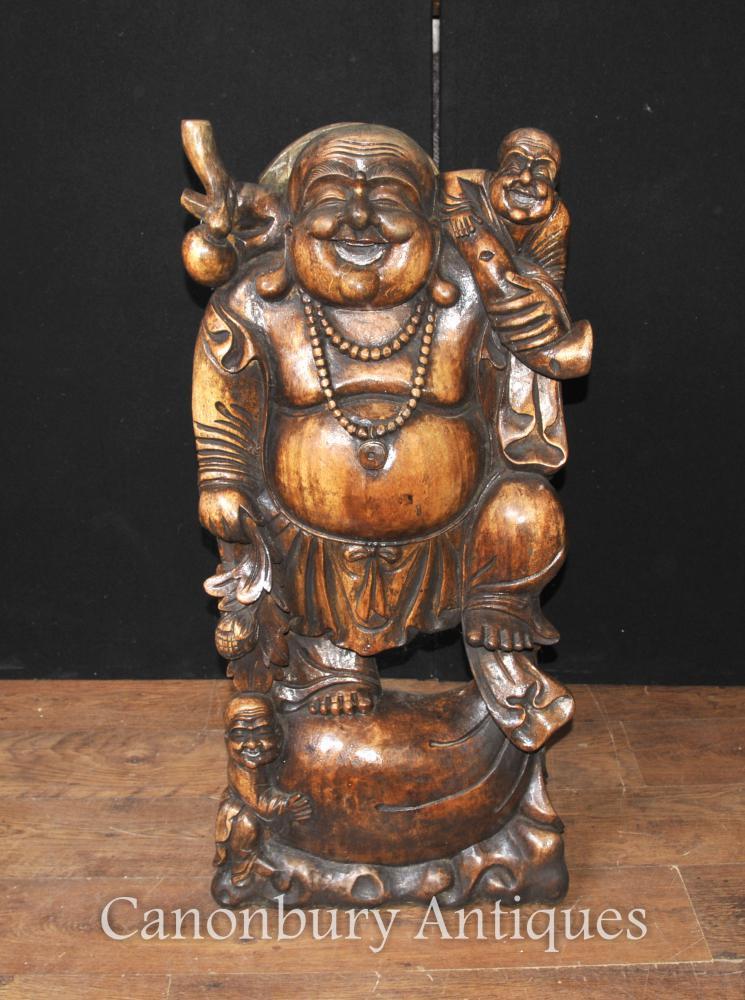 Hand geschnitzte chinesische glückliche Buddha-Statue Buddhistischer Buddhismus