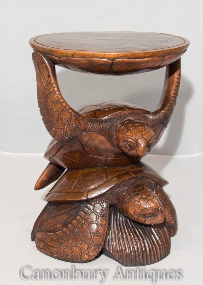 Hand geschnitzte tropische Schildkröte Beistelltisch Cocktail Tische
