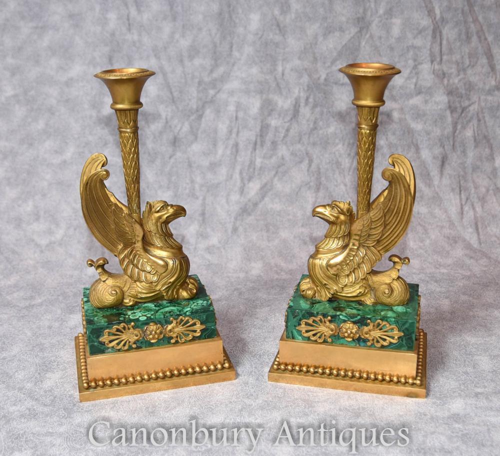 Paar Antike Französisch Reich Bronze Griffin Kerzenständer Malachit 1810 Ormolu Kandelaber