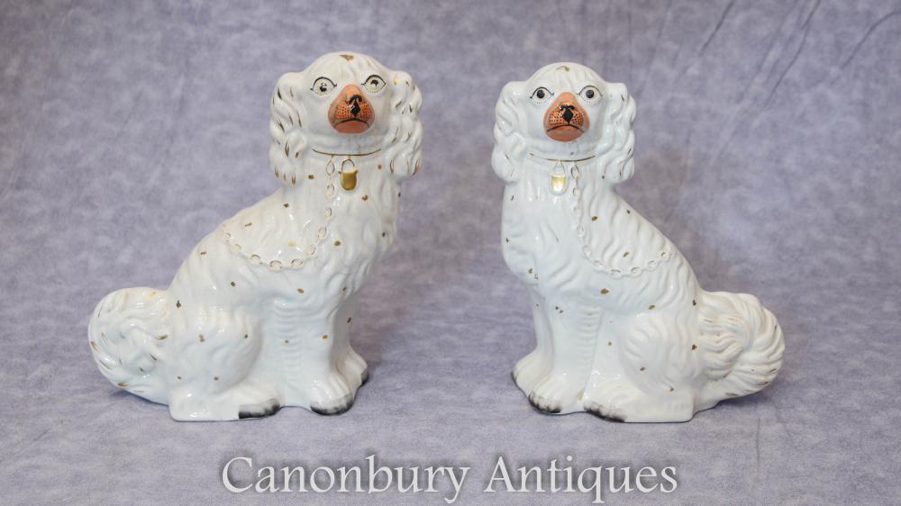 Paar Antike Staffordshire Porzellan Königcharles Spaniel Statuen 1910