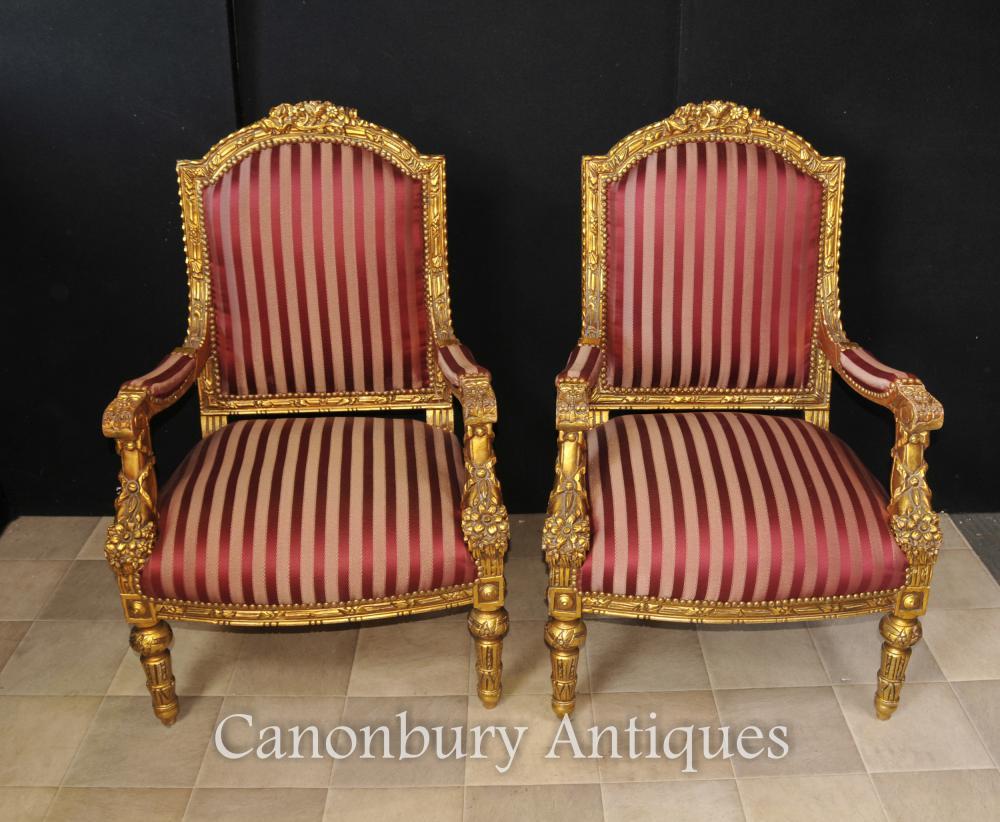 Paar Französisch Louis XVI Gilt Arm Stühle Thron Fauteuil