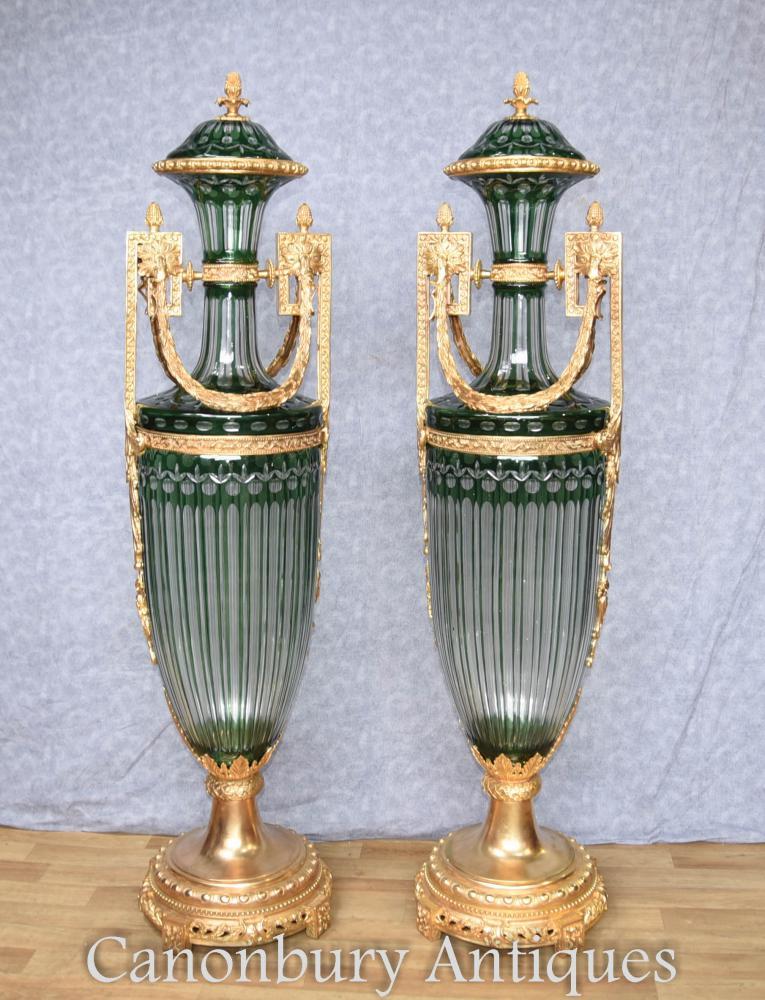Paar Französisches Reich Glas Amphora Urnen Ormolu Mounts Vasen