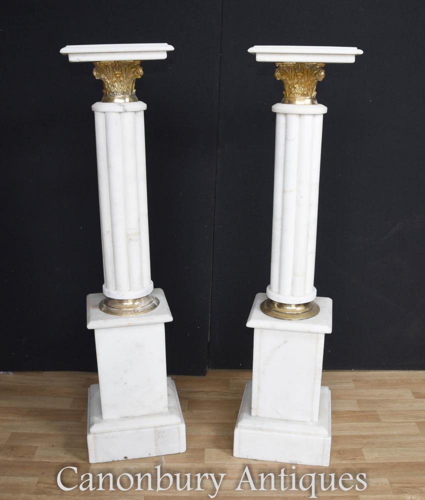 Paar Französisches Reich Marmor Sockelständer Säulentische