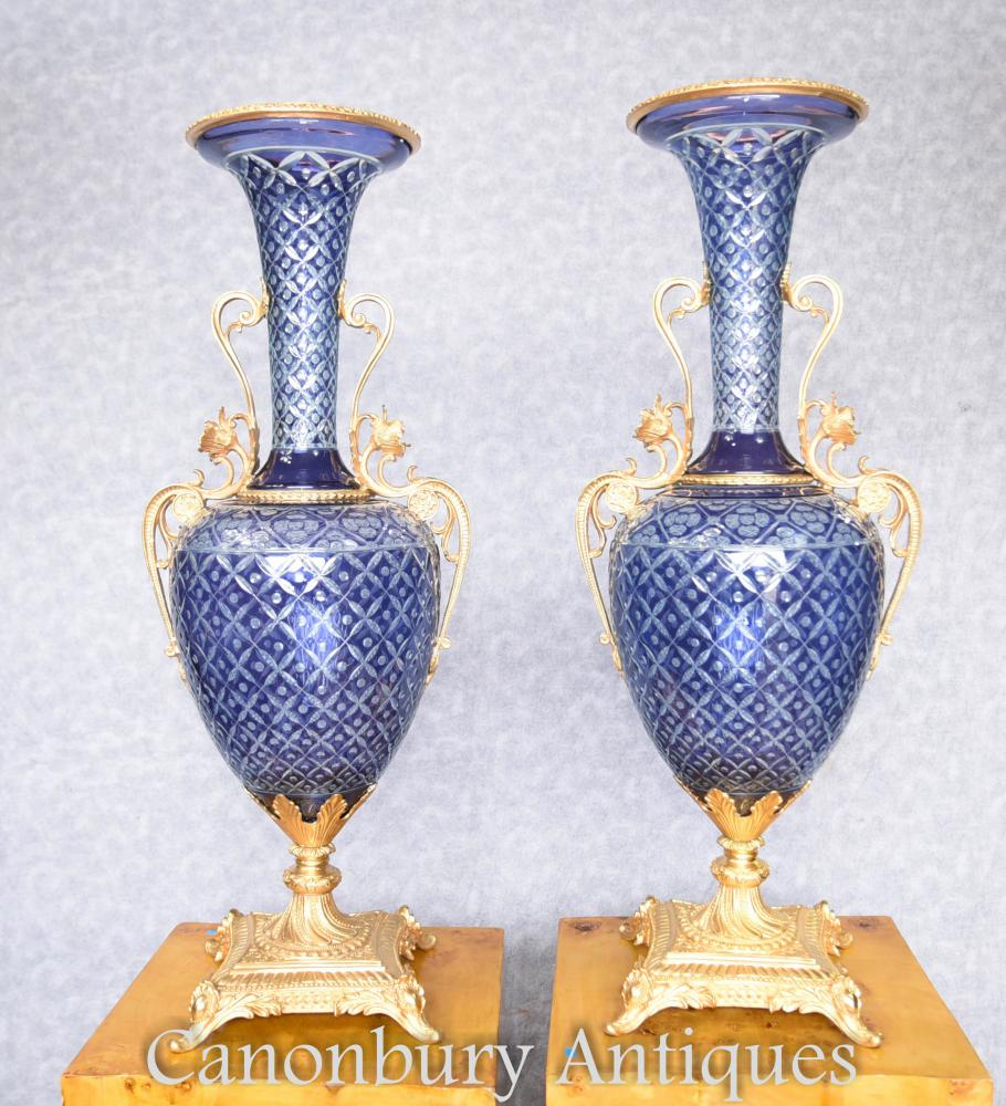 Paar French Cut Glas Amphora Urnen Vasen Ormolu Mounts
