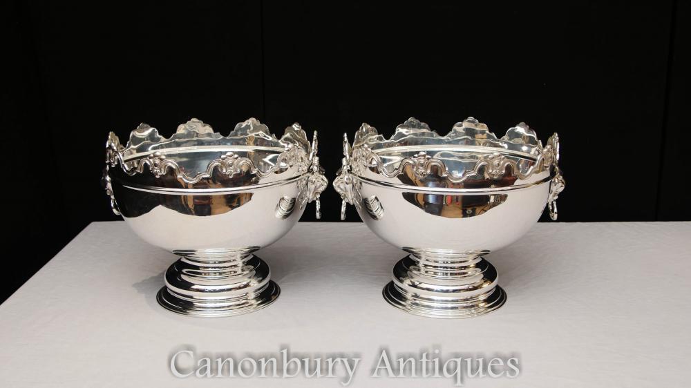 Paar George II Silber Platte Punsch Schüsseln Wein Champagner Kühler