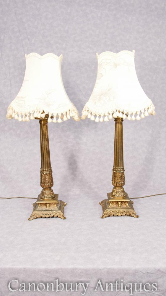 Paar Ormolu Korinthische Säule Lampe Basen Tischleuchten