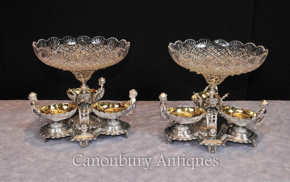 Paar Sheffield Silber Platte Cherub Glasschale Comports Dippers Centerpiece