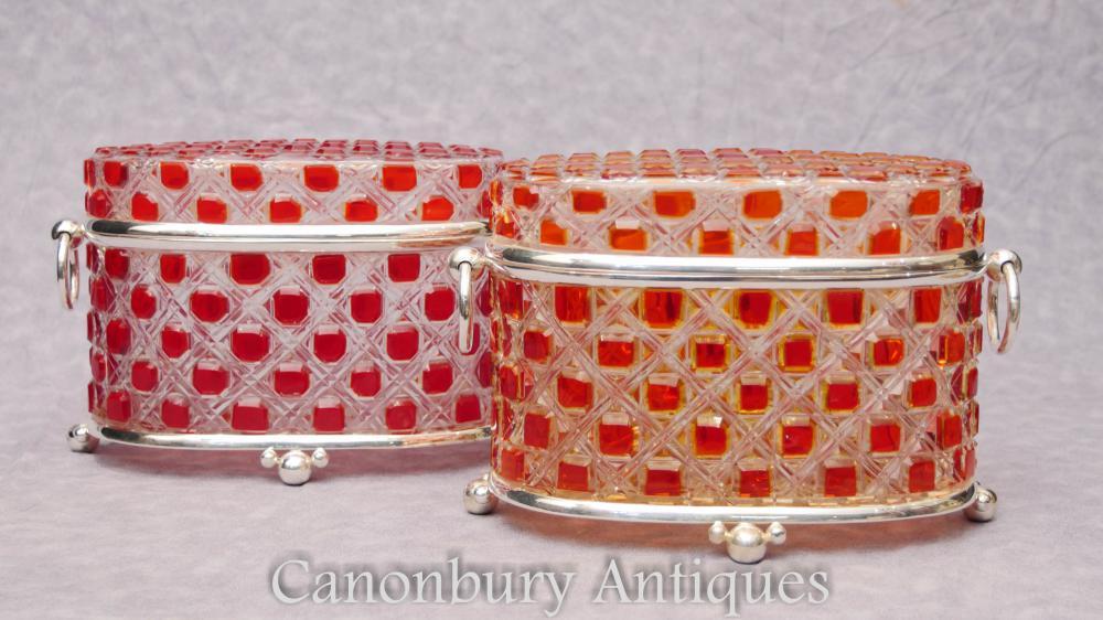 Paar versilbert geschliffenes Glas Schmucksache-Kasten-Kasten-Kasten