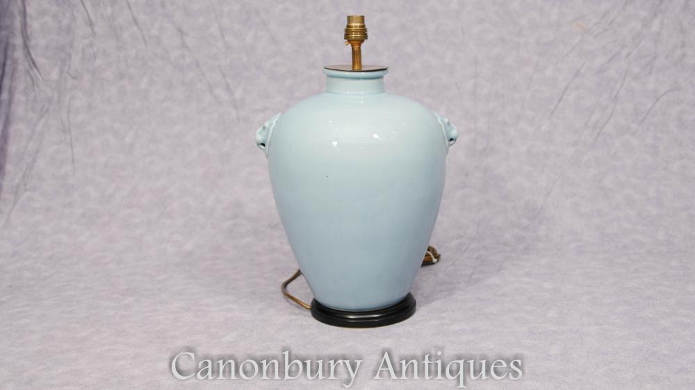 Single Chinese Celadon Porzellantisch Lampe Licht