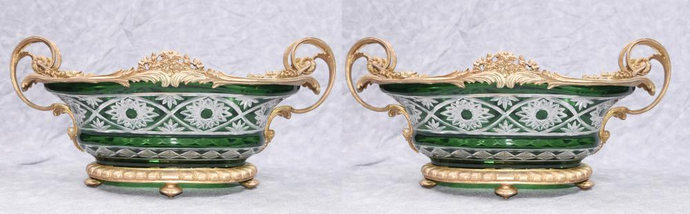 Paar Louis XV geschnittenes Glas Ormolu Tureens Vasen Schüssel Gerichte