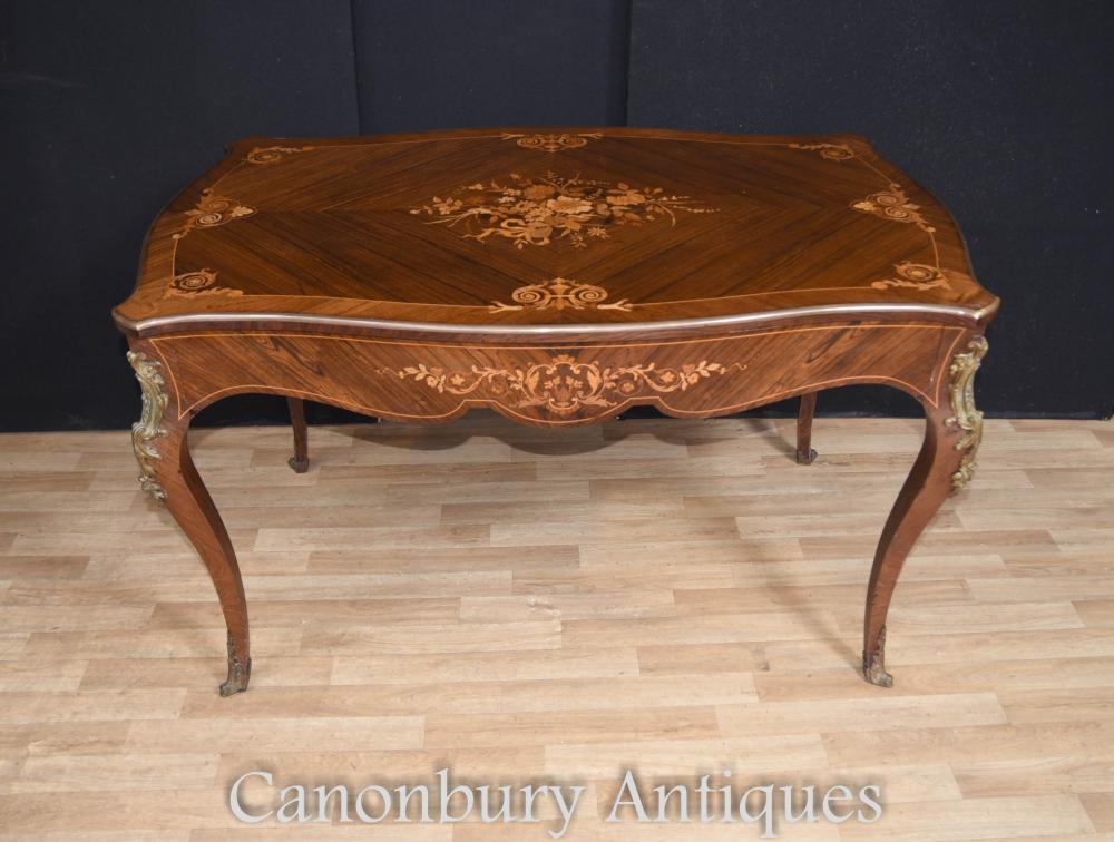 Antique French Empire Bureau Plat Schreibtisch Bibliothek Tisch Intarsien Inlay