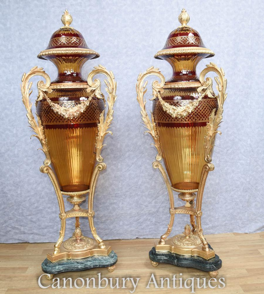 Pair Big French Cut Glas Amphora Urnen Vasen Louis XVI