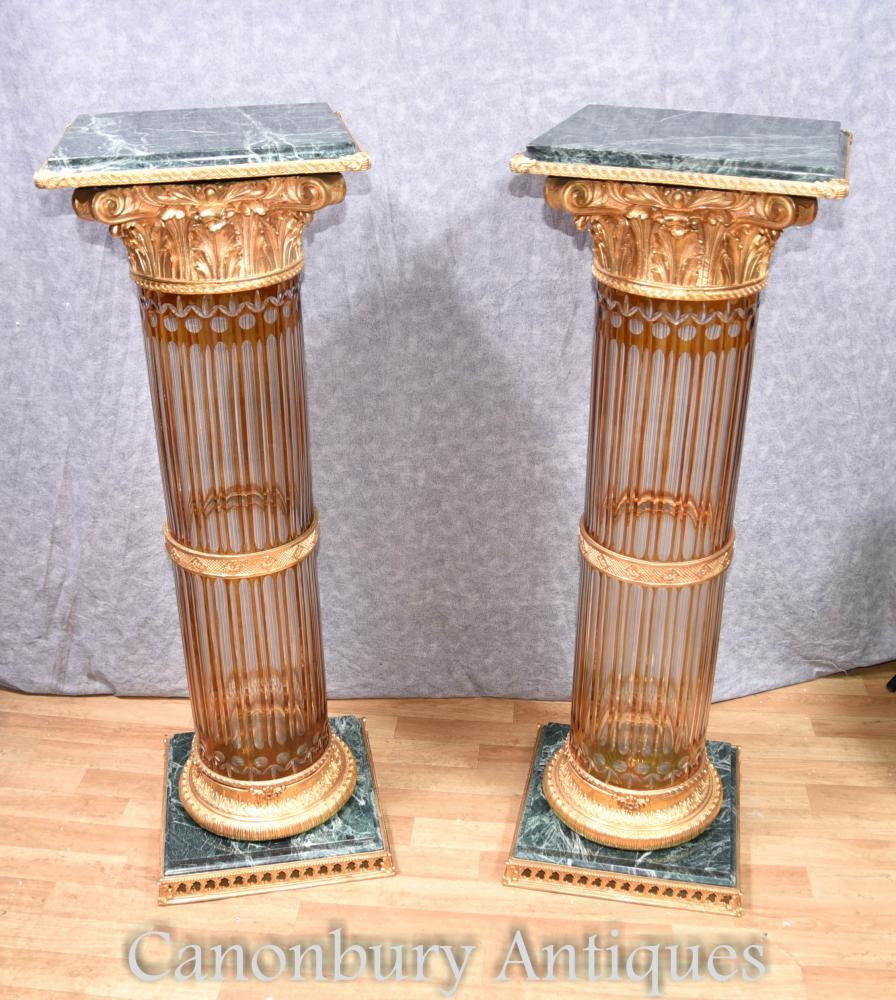 Pear Cut Glas Korinthische Säule Sockel Stand Tische Französisch Empire Tisch
