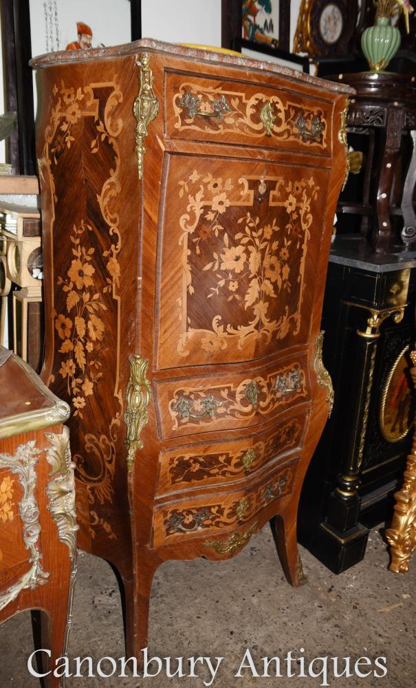 Antike Louis XVI Secretaire Französisch Schreibtisch Kabinett Intarsien Inlay Escritoire