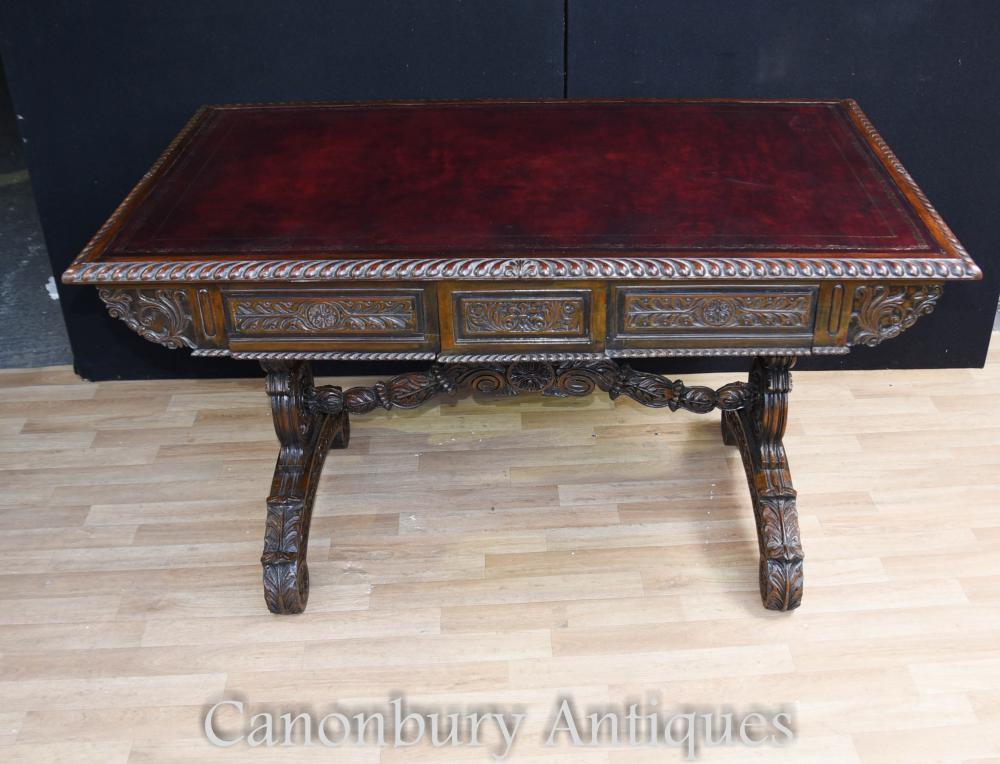 Antike Padouk Holz Schreibtisch Geschnitzt Schreiben Tisch Anglo Indian
