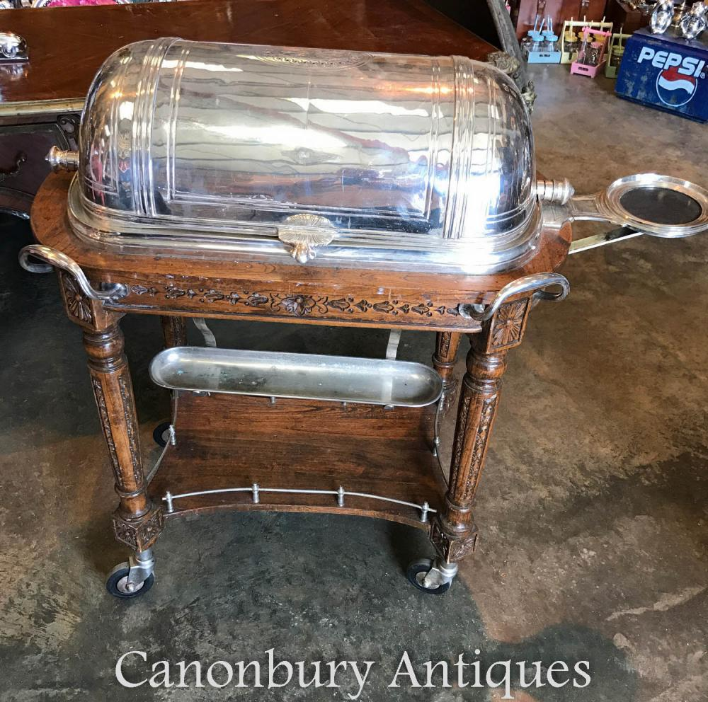 Antike französische Silberplatte Christofle Beef Trolley Server Hotel Carvery