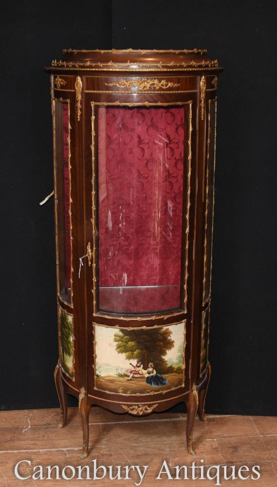 Antique Französisch Kingwood Display Kabinett Bijouterie Vernis Martin Gemälde