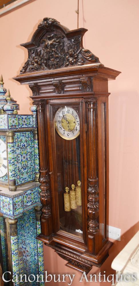Antique Mahagoni Wien Regulator Wanduhr Hand geschnitzte Wiener