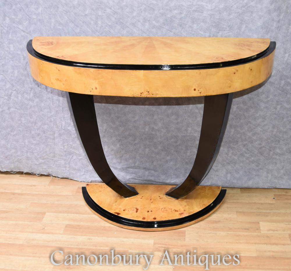 Art Deco Konsolentisch Half Round Hall Tische 1920er Jahre