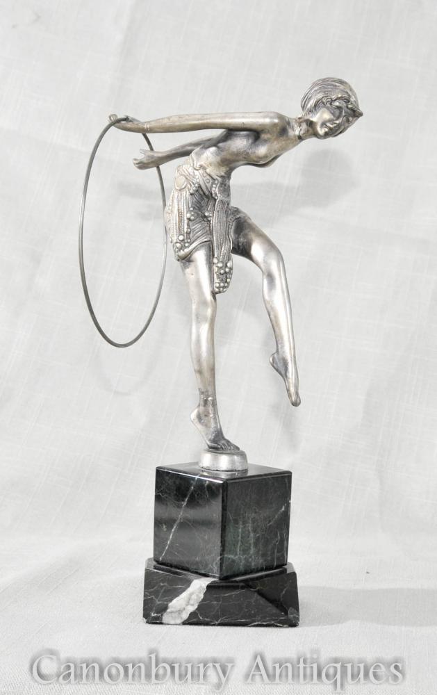 Art Deco Zinn Hoop Tänzer Figur von Ferdinand Preiss