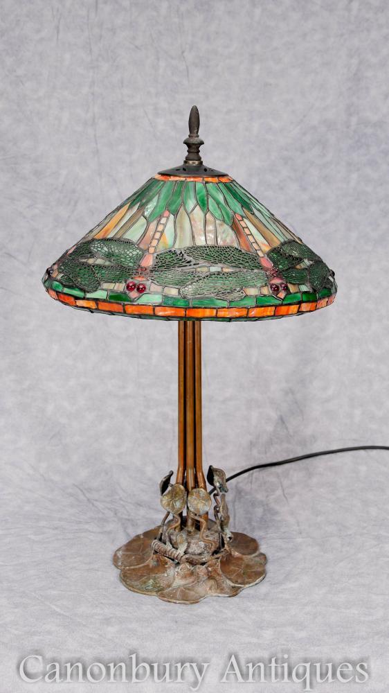Art Nouveau Bronze Tiffany Tischlampe Libelle Schatten