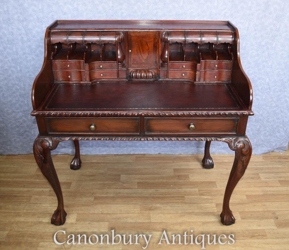 Chippendale Schreibtisch in Mahagoni Schreibtisch Tisch Escritoire Englisch Möbel