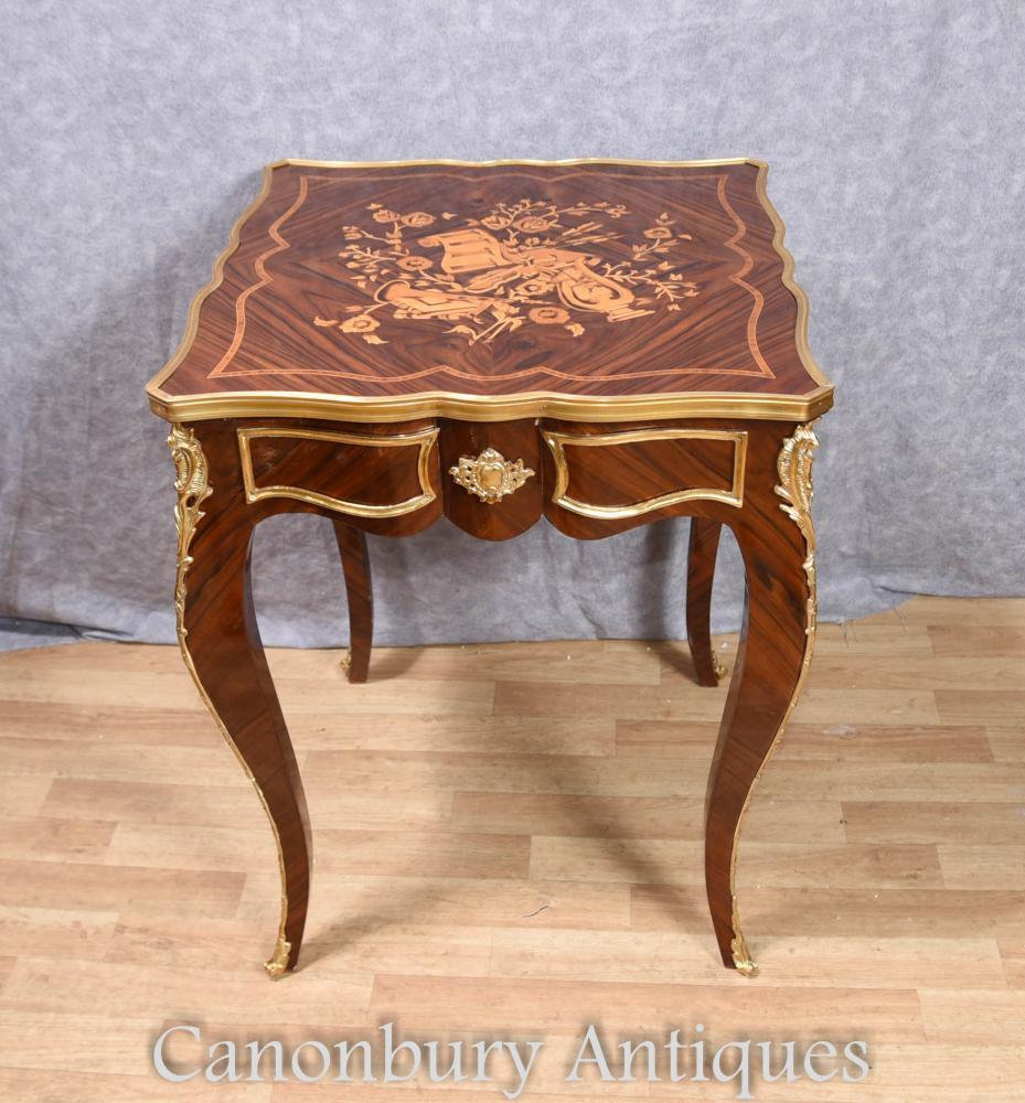 Einzelnes französisches Empire Side Table Intarsien Inlay