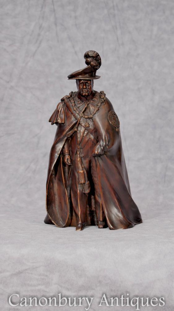 Englisch Bronze Casting Winston Churchill in Garter Robes Britischer Premierminister