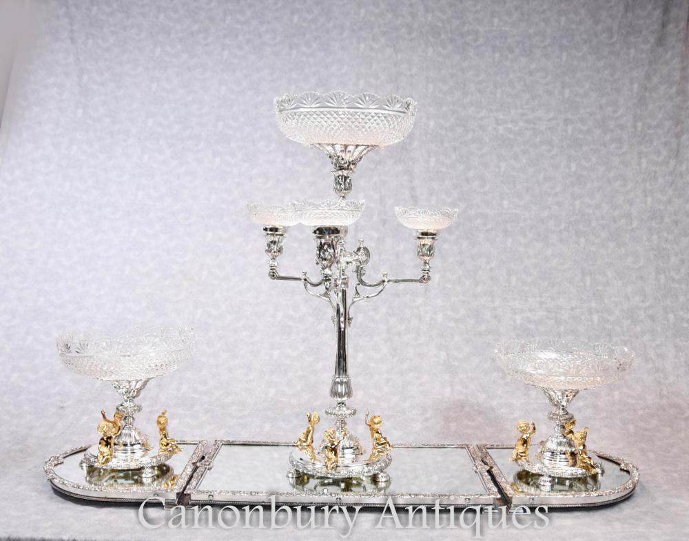 Englisch Silber Platte Boulton Mittelstück Epergne Glas Tablett Cherub Dish