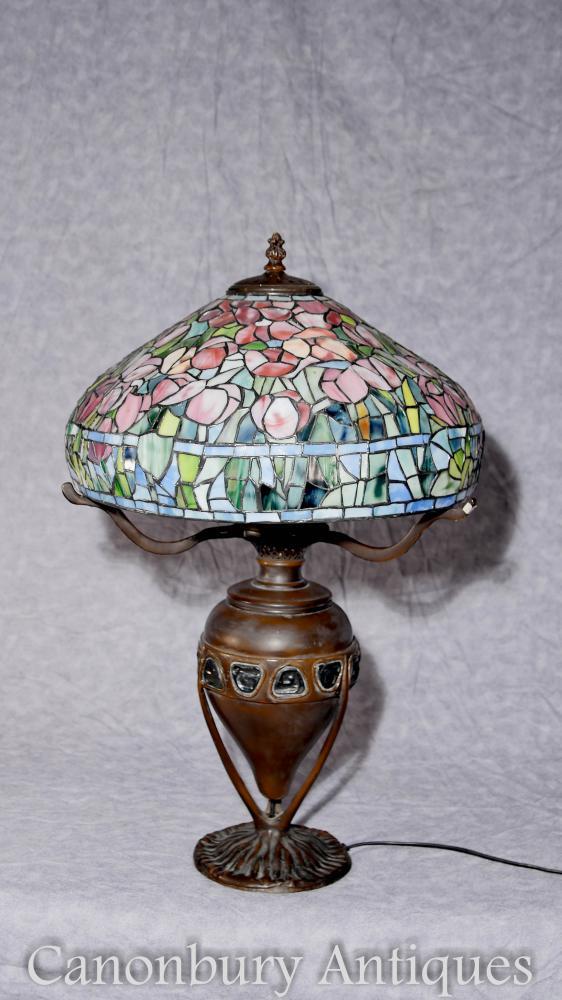 Französische Bronze Tiffany Glas Tisch Lampe Kunst Nouveau Licht