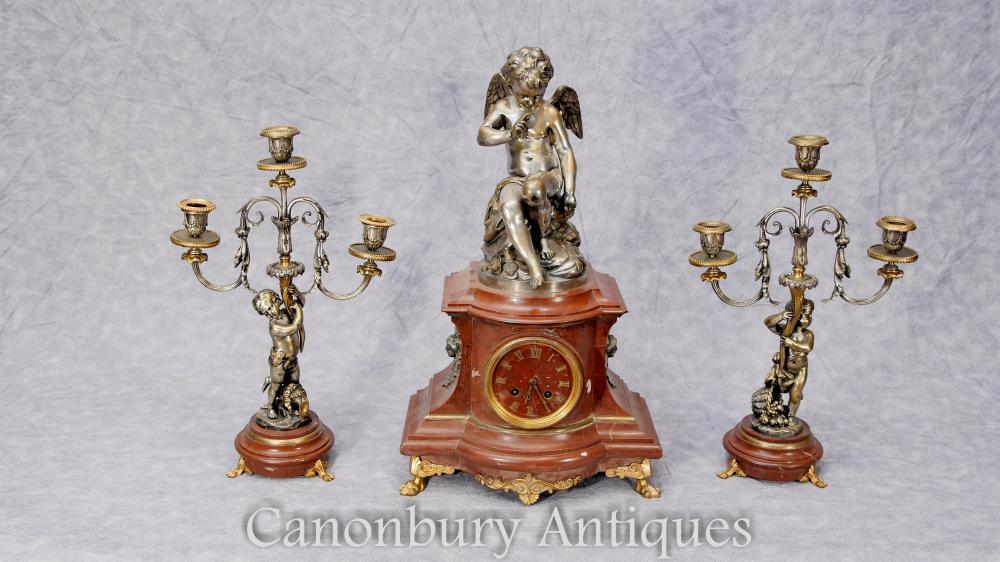 Französisches Reich Antike Uhr Set Garniture Cherub Gilt Candelabras
