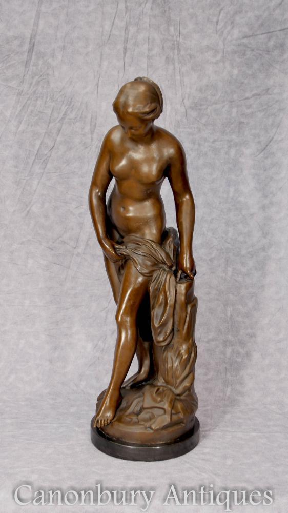 Klassische Bronze Nude Lady Weibliche Figur Statue Signiert