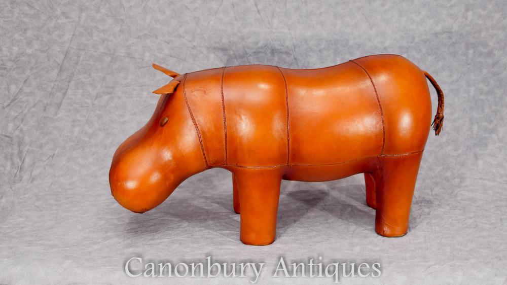 Leder Hippo Statue Fuß Hocker Innenarchitektur Hippopotamus
