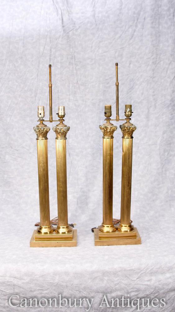 Paar Antike Gilt Regency Tischleuchten Lichter Korinthische Säulen