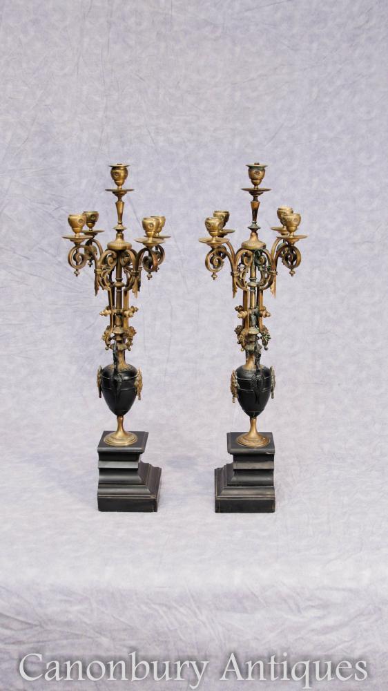 Paar Antike Reich Ormolu Kandelaber Marmor Malachit Gilt Kerzen