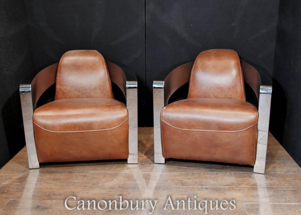 Paar Art Deco Chrom Leder Club Stühle Arm Stuhl