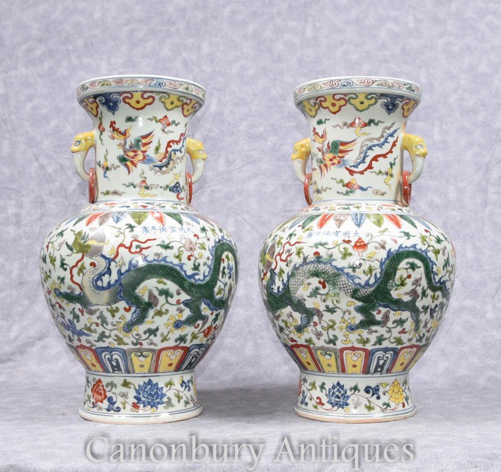 Paar Chinesische Qianlong Porzellan Vasen Drachen Urnen Keramik China