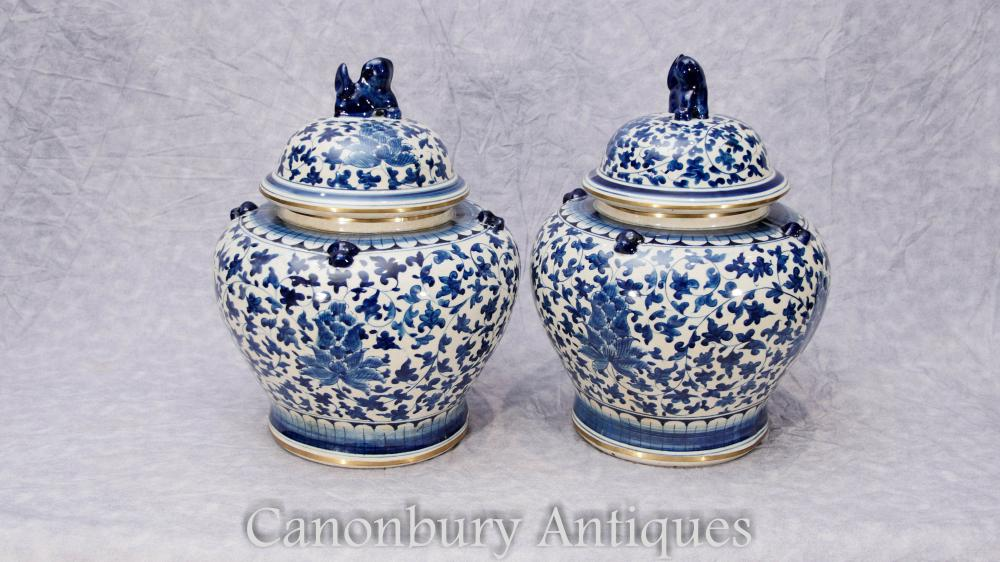 Paar Chinesisches Blau und Weiß Porzellan Deckel Urnen Töpfe Vasen Kangxi