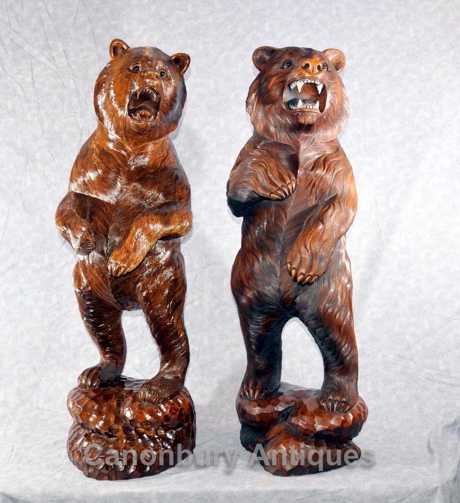 Paar Deutsche Schwarzwald Hand geschnitzte Braunbären Bär Statue
